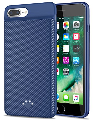 [Upgraded] iPhone 7 Plus/8 Plus Battery Case, Emishine 4000 mAh Super Thin and Lightweight Rechargeable External Battery Portable Power Charger Case for iPhone 8 Plus/7 Plus/6 Plus/6S Plus (Blue)