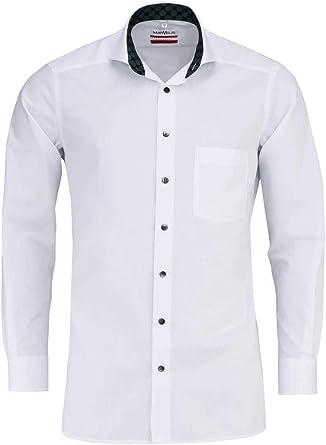 Camisa Marvelis, ajuste moderno, manga larga 64 cm, no necesita planchado, color blanco, cuello de tiburón, 100% algodón, cuello enlucido, botones ...