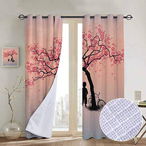NUOMANAN Blackout Curtains Tree of Life,Children Playing on a Tire Swing Under Cherry Tree with Dog Blossom Spring Art,Pink Black,for Bedroom,Nursery,Living Room 84