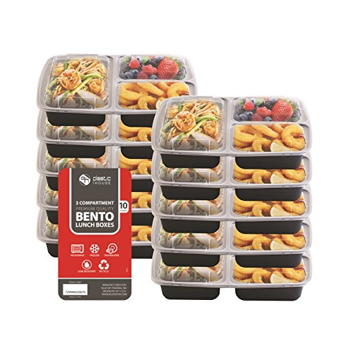 [VALUE 10 PACK] Party Bargains Leakproof 3 Compartment Rectangular Plastic Bento Lunch Box - Portion Control Food Containers With Airtight Lids Set, Reusable, Microwavable, Dishwasher & Freezer Safe (Bento Box Accesories compare prices)