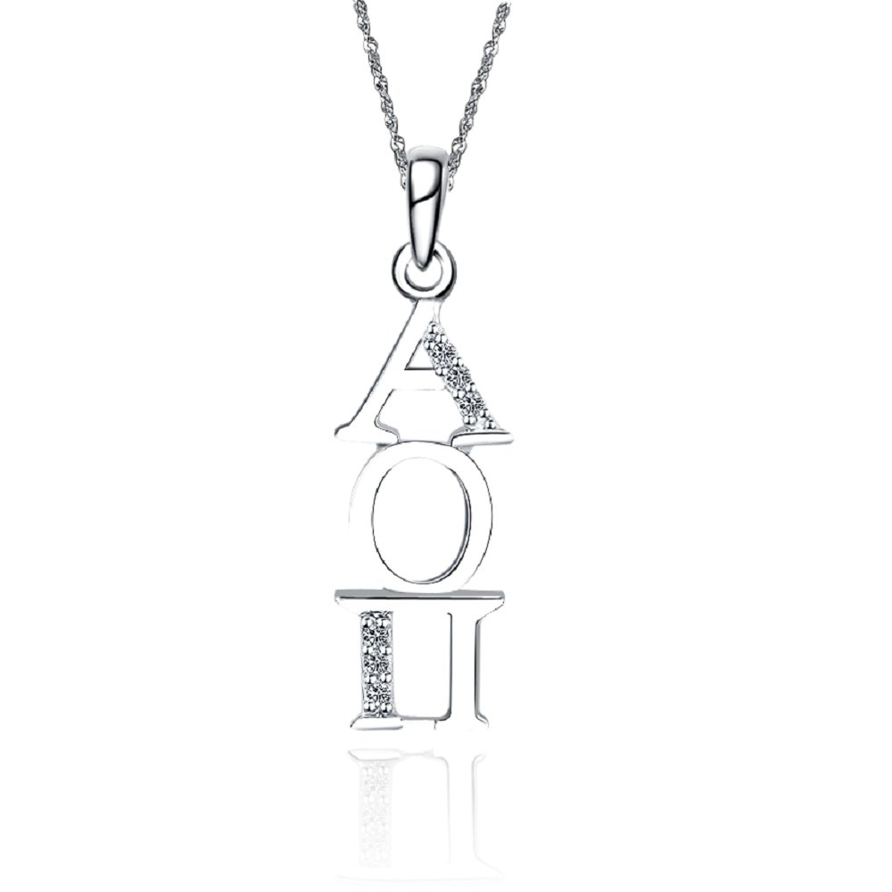 AOP-P005 Alpha Omicron Pi Vertical Silver Necklace with a 18 Silver Chain