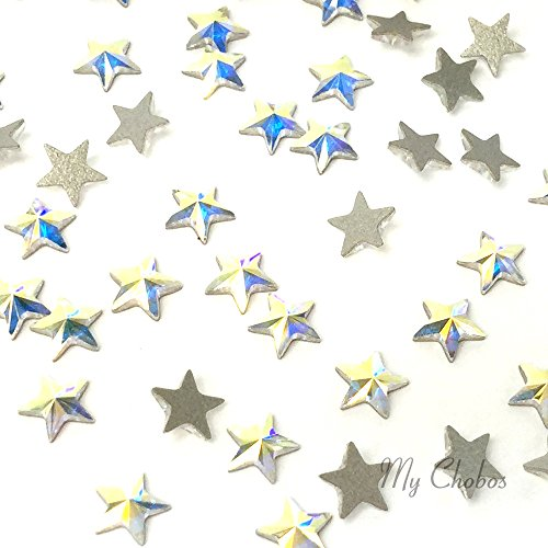 CRYSTAL AB (001 AB) Swarovski 2816 Star - 5mm Flatbacks No-Hotfix Rhinestones 12 pcs from Mychobos (Crystal Ab Star)