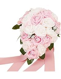 Wedding Bouquets Roses Handmade Decorative Artificial Crystal Beaded Flower Bride Vestidos