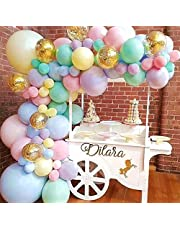 """Pastel Balloons Garland Arch Kit 5"""" 12"""" 18 inch Macaron Color Pastel Party Balloons Set and Gold Confetti Balloons for Wedding Birthday Baby Shower Party Mother's Day Decorations"""