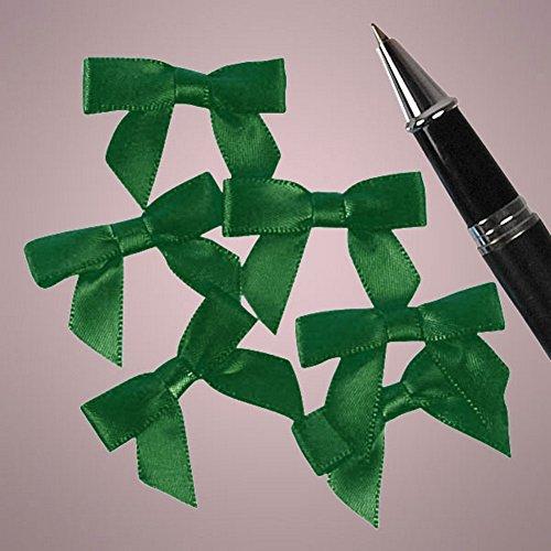 Mini Emerald Green Satin Bows - 1 3/8 in. x 1in. - 50 Pack ()