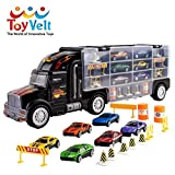 Toy Truck Transport Car Carrier Toy for Boys and Girls age 3 - 10 yrs old - Hauler Truck Includes 6 Toy Cars and Accessories - Car Truck Fits 28 Car Slots - Ideal Gift For Kids