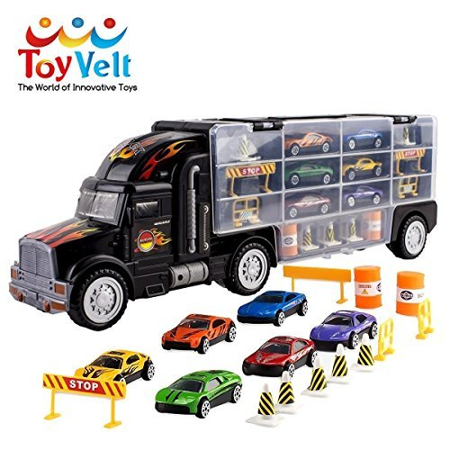 - Toy Truck Transport Car Carrier Toy for Boys and Girls age 3 - 10 yrs old - Hauler Truck Includes 6 Toy Cars and Accessories - Car Truck Fits 28 Car Slots - Ideal Gift For Kids
