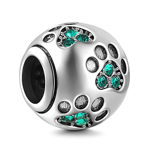 - Dog Paw Print Charms 925 Sterling Silver Animal Birthstone Crystal Charms for 3mm Snake Chain Bracelets (Green)