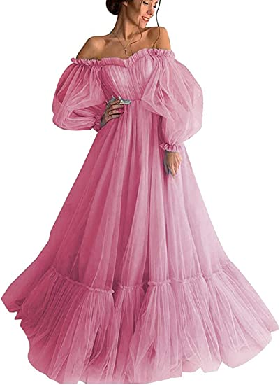 Ruffle Dress Tulle and Silk Double Dress with Wool Appliques Long Sleeve Dress