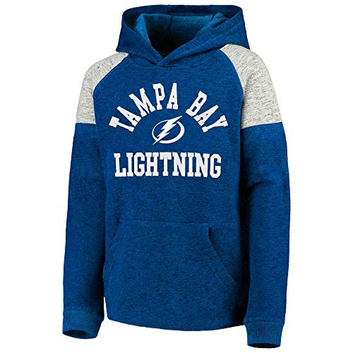 Outerstuff NHL Youth 8-20 Team Color Hat Trick Pullover Sweatshirt Fleece Hoodie (Medium 10/12, Tampa Bay Lightning)