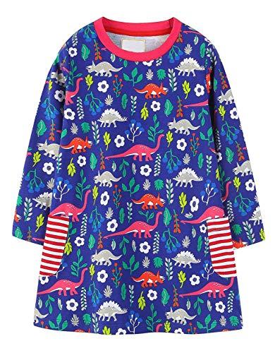 GSVIBK Kid Cotton Dress Girl Cute Cartoon Dress Baby Casual Dress Long Sleeve Cartoon Dress Toddler