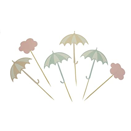 Amazon Com Gocrown Umbrella And Cloud Cake Cupcake Toppers Picks