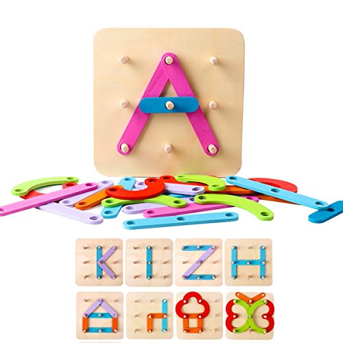 kizh Wooden Letter and Number Construction Activity Set Educational Preschool Toddler Toys Shape Color Recognition Pegboard Number Sorter Board Blocks Stack Sort for Toddler Boys Girls Non-Toxic Toy