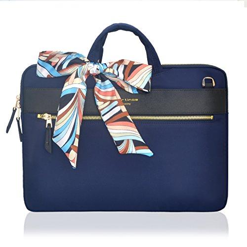 Fashion Women Handbag Laptop Briefcase Business Tote Bag Nylon Casual Shoulder Messenger Bag for 12-13.3 inch Tablet Laptop Case MacBook Ultrabook for Ladies, Blue