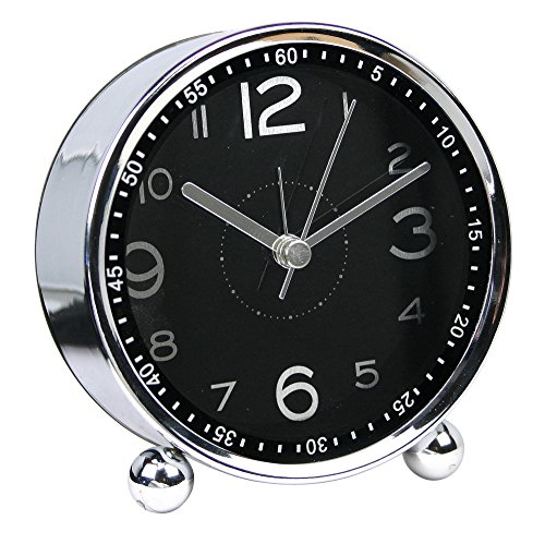 chengsan 4-inch Table Clock Ultra-Quiet Metal Small Alarm Clock, Classic Retro Style Quartz Clock, Desk Cupboard Bedside Travel Alarm Clock (CS-AC06)(Black)