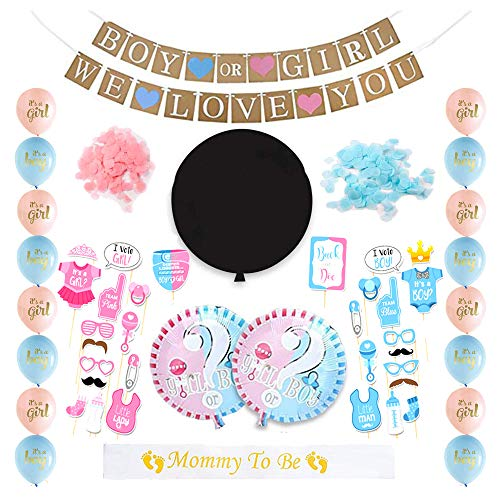 Gender Reveal Party Supplies Set - Complete Baby Boy or Girl Shower Kit - Set includes 36
