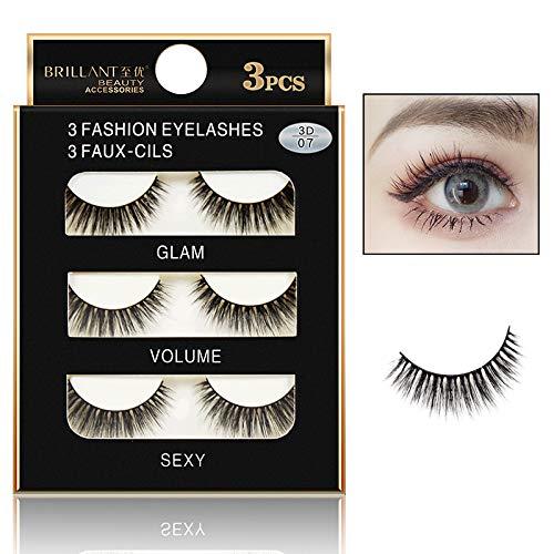Euone  False Lashes Clearance , 3 Pairs 3D Long False Eyelashes Makeup Natural Fake Thick Black Eye Lashes