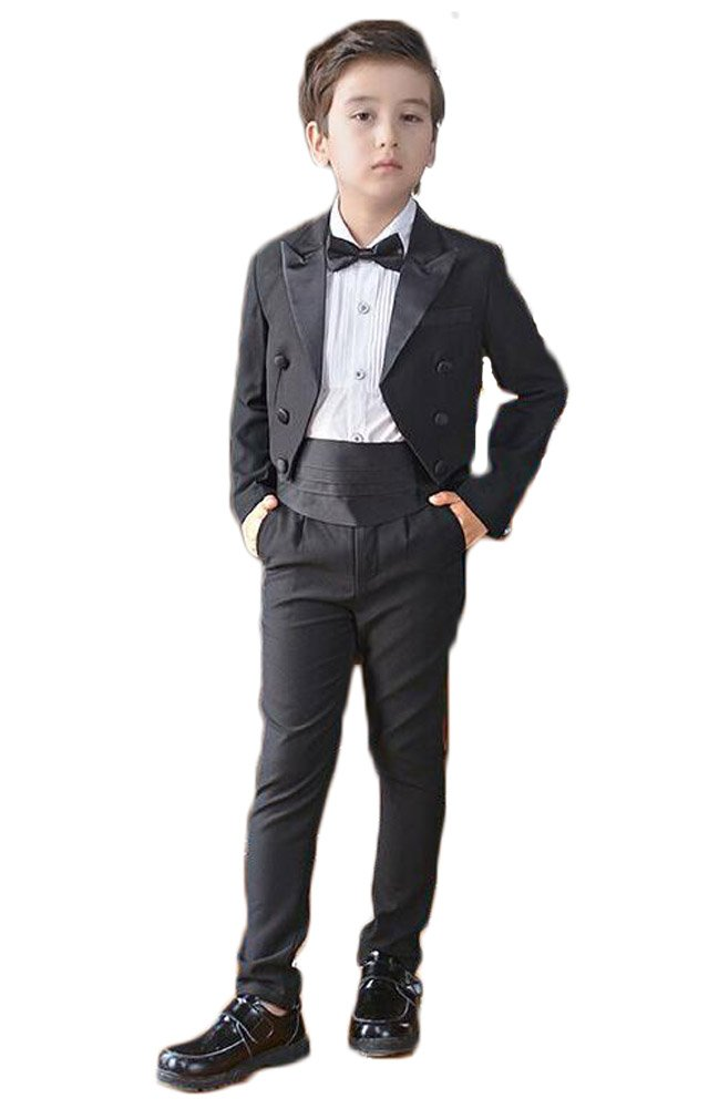 Aokaixin Boy's Slim Fit Tuxedo 4pc Suit for Wedding Evening Party (120cm)