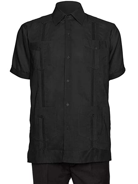 4801abd0e5 Giovanni Uomo Mens Short Sleeve 100% Linen Guayabera Shirt  Amazon.ca   Clothing   Accessories