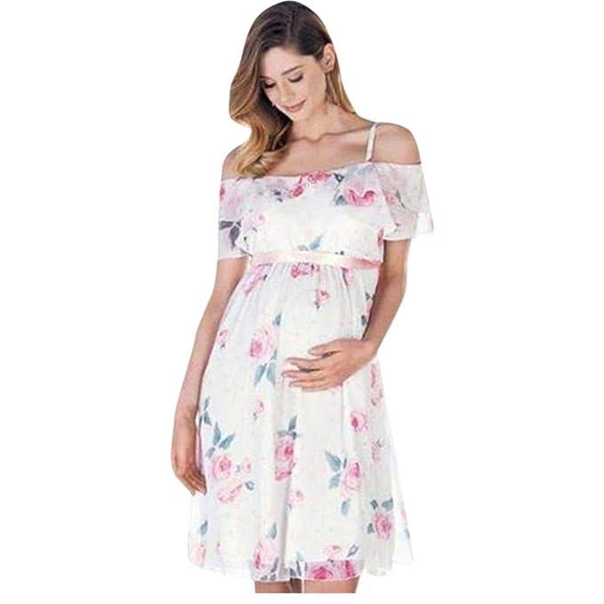 BBsmile Ropa premamá Madre de Mujer Floral Falbala Embarazada Vestido de Hombro para la Ropa de