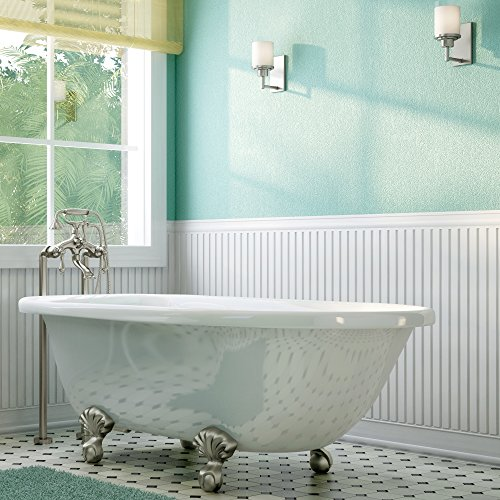 Luxury 60 inch Clawfoot Tub with Vintage Tub Design in White, includes Brushed Nickel Ball and Claw Feet and Drain, from The Laughlin Collection by Pelham & White (Image #9)