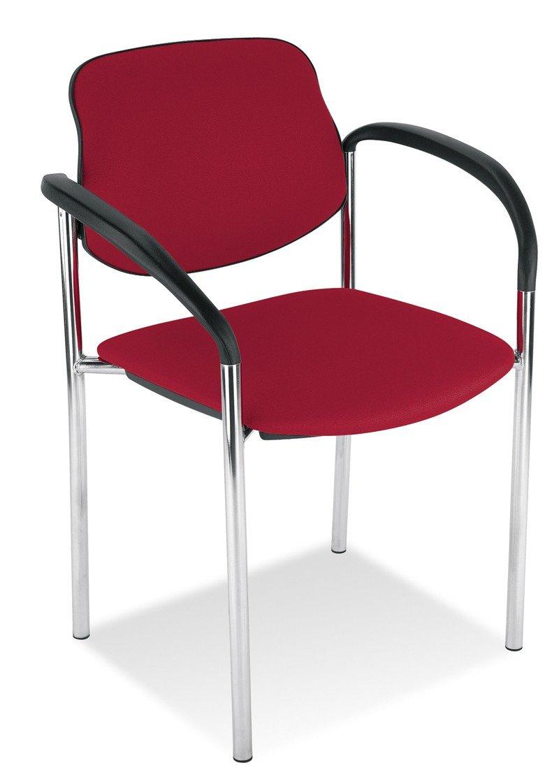Dreams4Home Konferenzstuhl Spree, Besucherstuhl Praxisstuhl mit Armlehnen Stapelstuhl Stuhl, Kunstleder, rot