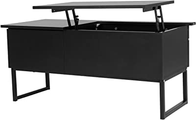 "40"" Black Lift Top Coffee Table w/Storage Space & Metal Leg Ebook"