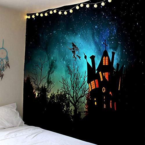 Scary Halloween Night Background with Haunted House Castle Dead Trees Graveyard Witch Flying to Galaxy Sky Pattern Tapestry Wall Hanging Wall Blanket Wall Decor Art Tapestries for Halloween Decoration -