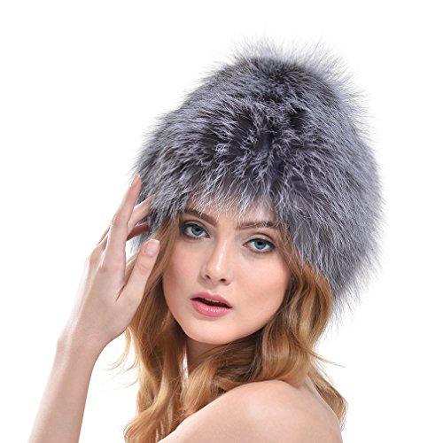 OLLEBOBO Femme de Chapeau Tricotés couleur pure en vraie Fourrure de renard Gris Tour de tête 52cm-60cm