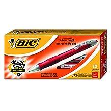 BIC Velocity retráctil de punta de bola bolígrafo, rellenables, punto medio (1.0mm), Rojo, 12rotuladores, Retráctil, Rojo, 12-Count