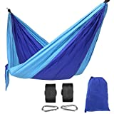 Songmics UGDC35L Camping Lightweight Parachute Nylon Portable Hammock with Tree Straps Carabiners for Backpacking, Multicolored