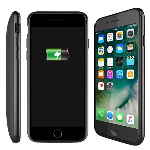 iPhone 7 Batterie Coque, Moonmini® For iPhone 7 5200mAh Externe Rechargeable Haute Capacité PowerBank Portable Chargeur Batterie Coque de Protection avec Béquille (Noir)