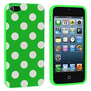 Cell Accessories For Less (TM) Neon Green / White TPU Polka Dot Skin Case Cover for Apple iPhone 5 / 5S Bundle (Stylus & Micro Cleaning Cloth) - By TheTargetBuys