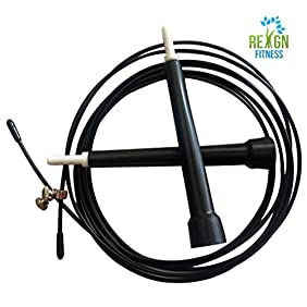 Reign Fitness CrossFit Jumping Rope For Men, Women & Children | Adjustable Skipping Rope With Ergonomic Handle Grip | Ideal For Cardio Workouts, Toning, Speed, MMA, Weight Loss, Double Unders & More