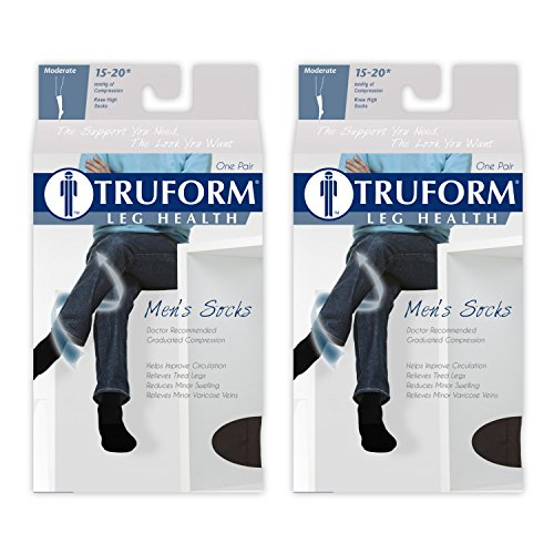 (Truform Men's 15-20 mmHg Knee High Cushioned Athletic Support Compression Socks, Black, X-Large (Pack of 2))
