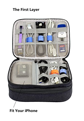 Electronics Travel Organizer Storage Bag for Cable Accessories iPad mini (Gray)