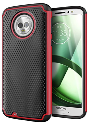 (Cimo Armor Moto G6 Case with Shockproof Dual Layer Protection and Rugged Hybrid Shell for Motorola Moto G6 - Red)