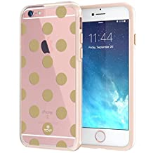 "iPhone 6 6s Plus Case 5.5"", True Color® Medium Polka Dots Printed on Clear Transparent Hybrid Cover Hard + Soft Slim Thin Durable Protective Shockproof TPU Bumper Cover - Gold"