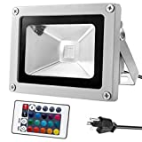 Warmoon Outdoor LED Flood Light, 10W RGB Color Changing Waterproof Security Wall Lights with US 3-Plug & Remote Control for Garden,Scenic Spot,Hotel