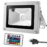 Tools & Hardware : Warmoon 10W Waterproof LED Flood Light with US 3-Plug and Remote, RGB
