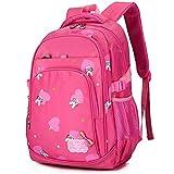 Primary School Backpack Book Bag for Girls Boys 7-12 years old, Kids Childrens 15.6 inch Laptop Bag, Uniuooi Multiple Compartments Nylon Schoolbag Waterproof Travel Rucksack, Rabbit Pattern (Pink)