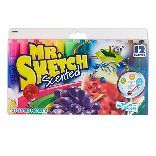 Mr. Sketch 1905069 Scented Markers, Chisel Tip, Assorted Colors, 12-Count (Mr Sketch Scented Watercolor Markers)