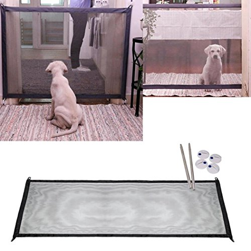 Magic Gate Portable Folding Safe Guard Install Anywhere for Dog Cat Pet Safety Gate for Hall Doorway Wide Tall, Fits Spaces Between 26