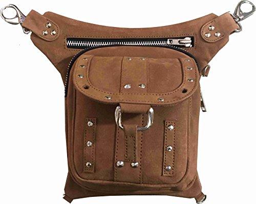 Leather Drop Leg Thigh Bag Concealed Gun Pocket (Dark Earth) ()