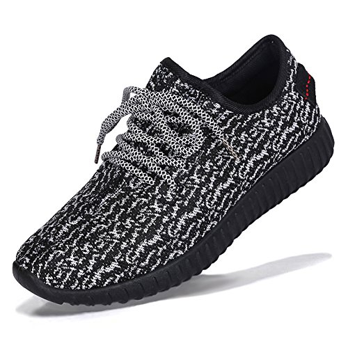 fereshte Unisex Adults' Lightweight Trainers Gym Walking Fitness Running Sneakers Sports Shoes, Men Need 1-1.5 Size up 197light Black