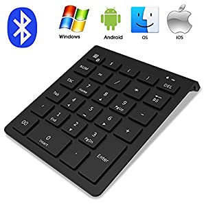 Bluetooth Numeric Keypad, IKOS Portable Wireless Bluetooth 28-key External Number pad with Multiple Shortcuts for Computer Laptop Windows Surface Pro Apple iMac Mackbook iPad Android Tablet Smartphone