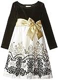 Rare Editions Little Girls' Velvet To Flocked Social Dress, Black/Ivory/Gold, 4