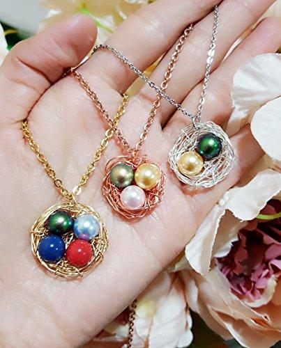 Personalized Swarovski Birthstone Pearl Bird Nest Necklace, 1,2,3,4,5,6,7 Pearls Bird Nest Necklace, Multicolor Available (Nest Bird Necklace)
