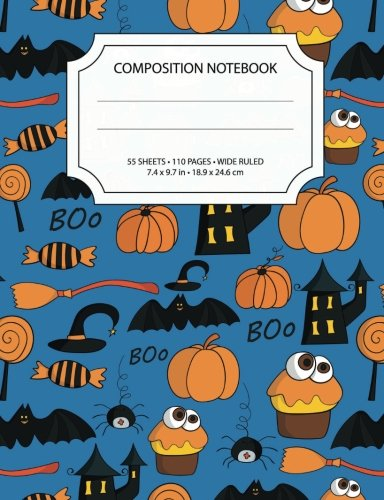 College Girl Halloween (Colorful Halloween Composition Notebook: Wide Ruled, 55 sheets / 110 pages,  7.4