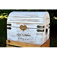 Lockable Card Chest with Card Slit - White Distressed Extra Large Rustic Wooden Card Box - Rustic Wedding Card Box - Shabby Chic Card Box